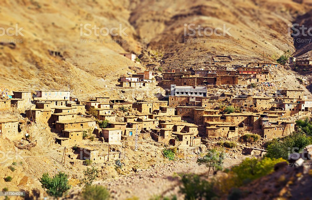 Traditional Berber Mountain Village in Southern Morocco stock photo