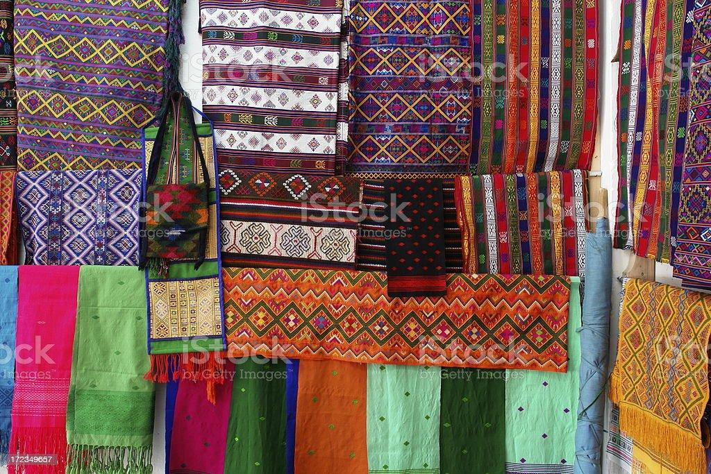 Telas tradicional butanés foto de stock libre de derechos