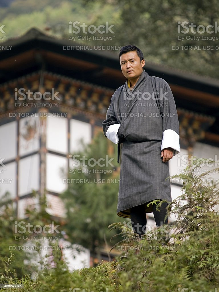 Traditional Bhutanese man stock photo