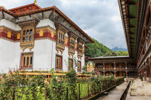 Traditional Bhutanese temple architecture in Bumthang Bhutan, South Asia. stock photo