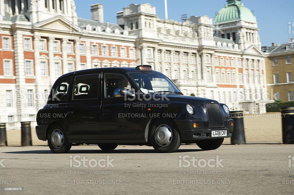 Traditional Black London Cab at Horse Guards Parade stock photo