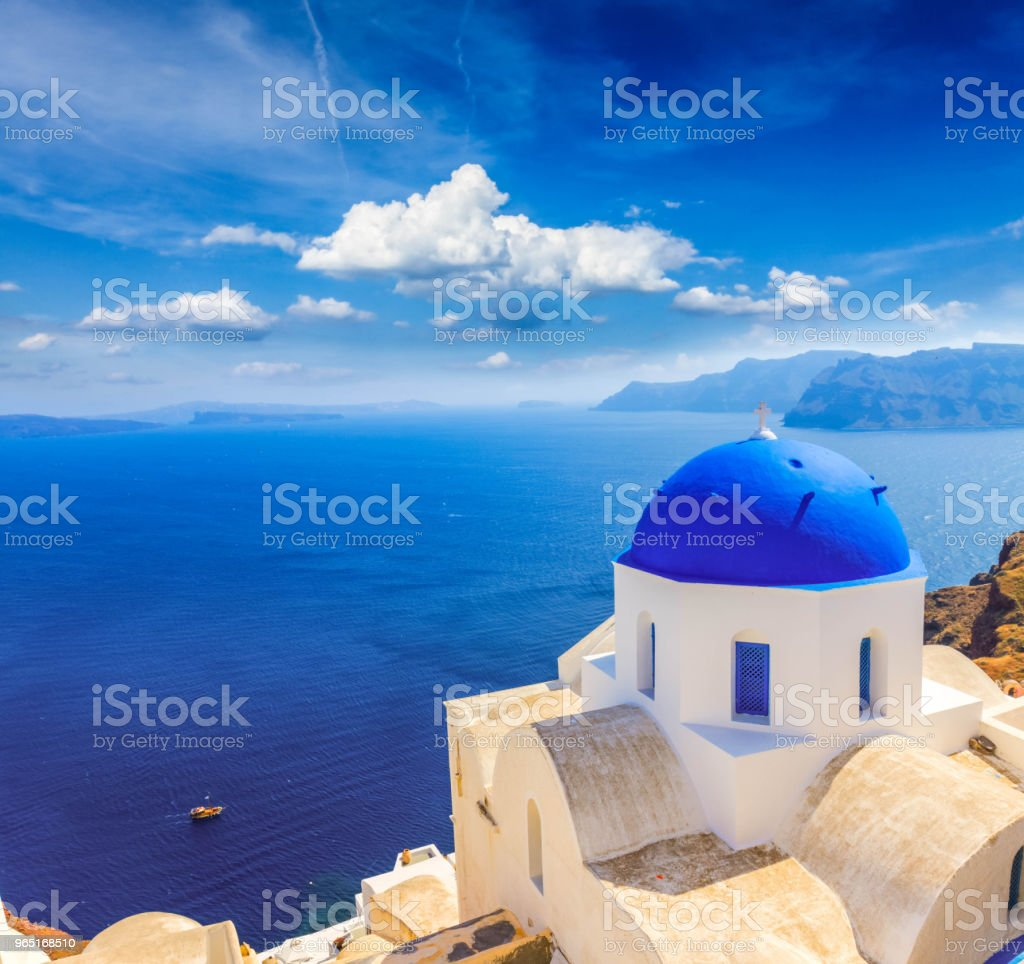 traditional blue dome with sea, Santorini royalty-free stock photo