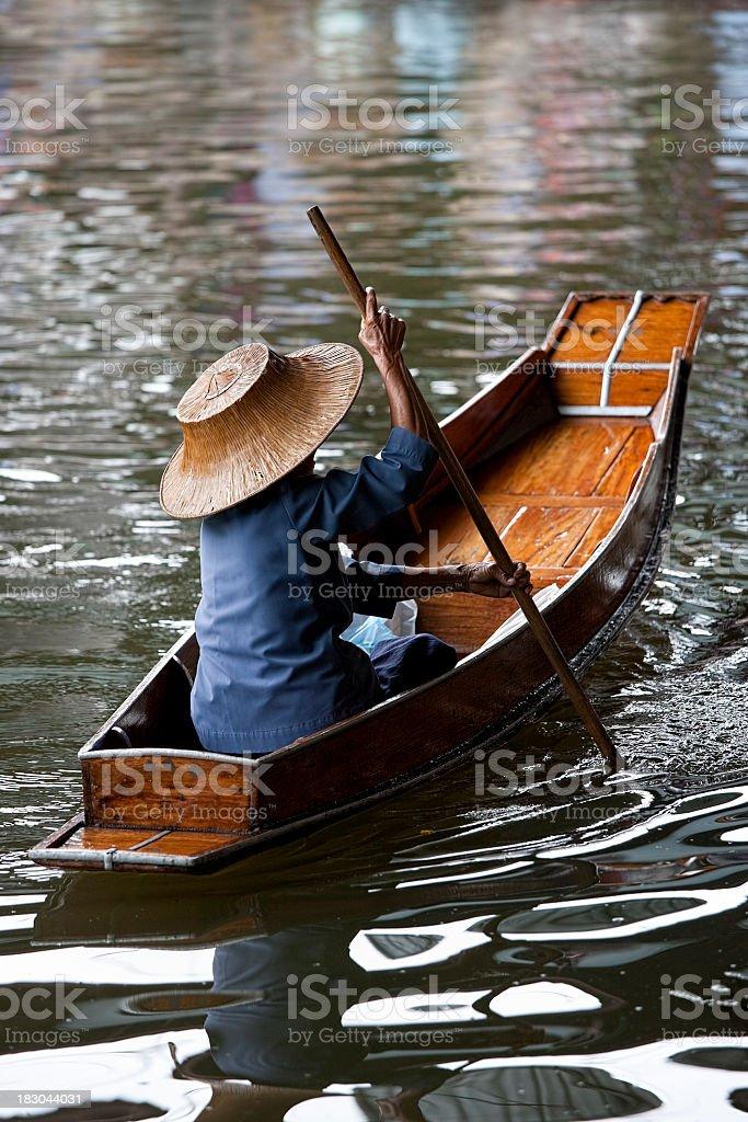 Traditional boat at the Damnoen Saduak Floating Market, Thailand. royalty-free stock photo