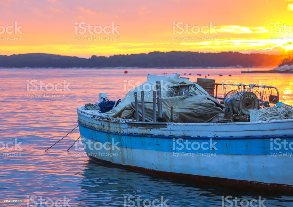 traditional boat in Hvar island royalty-free stock photo