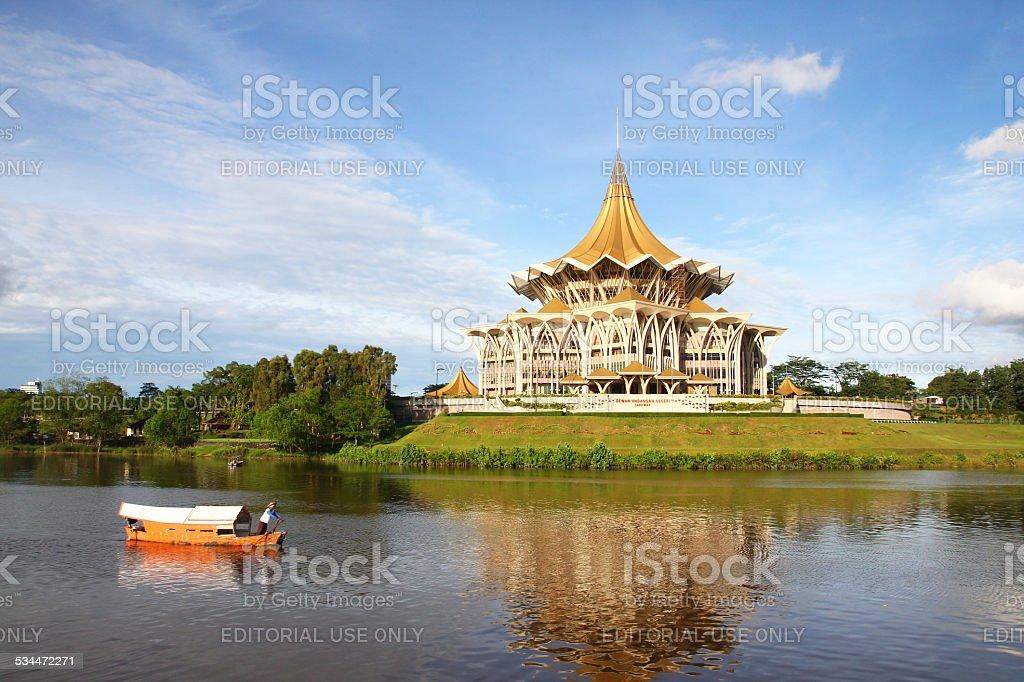 Traditional boat ride in Kuching city, Malaysia stock photo