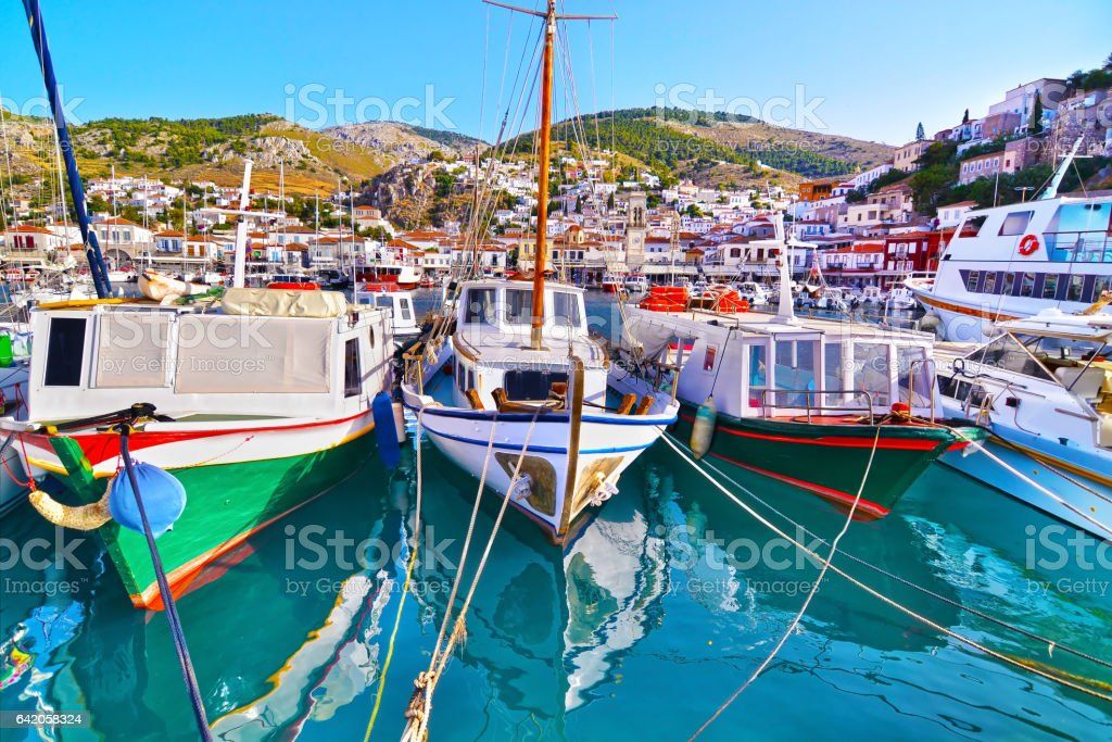 traditional boats at Hydra island Greece stock photo