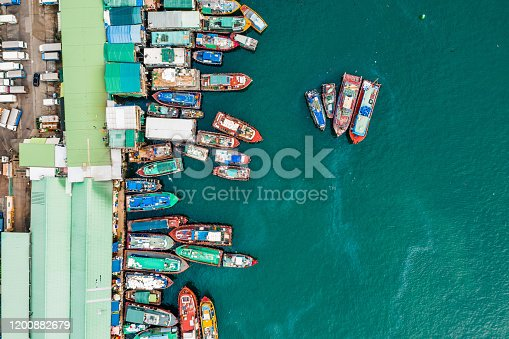 Traditional Boats Docked in Aberdeen Harbour Hong Kong