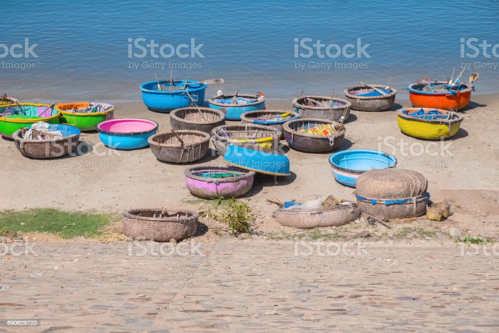 Traditional boats in fishing village MuiNe Vietnam stock photo