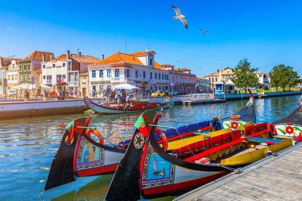 traditional boats on the canal in aveiro, portugal. colorful moliceiro boat rides in aveiro are popular with tourists to enjoy views of the charming canals. aveiro, portugal. - aveiro imagens e fotografias de stock