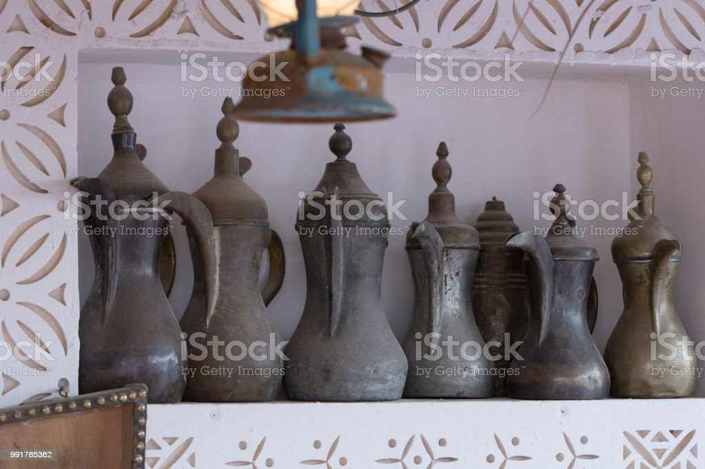 traditional brass, using for Arabic coffee stock photo