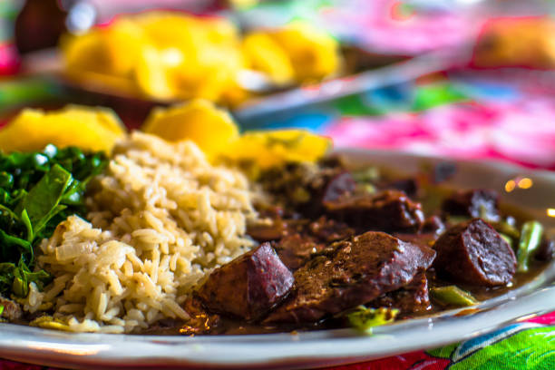 Traditional Brazilian dish - feijoada - much appreciated and incorporated in the country's culinary tradition. Selective focus. stock photo
