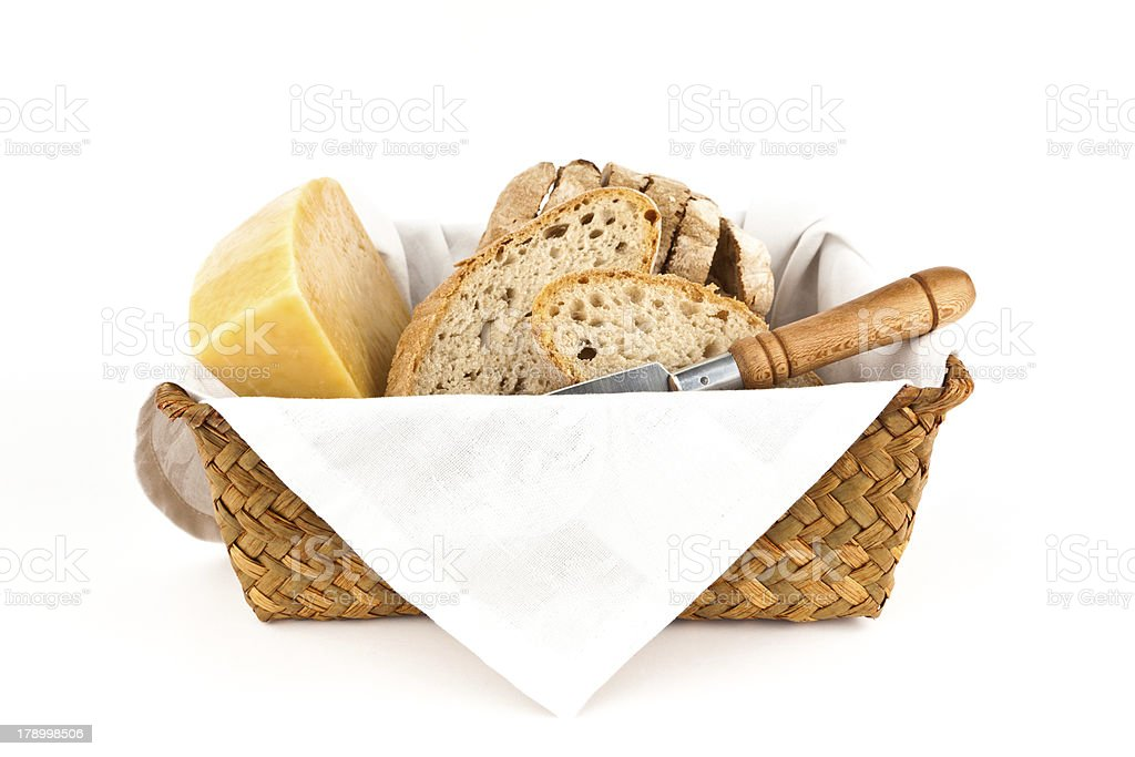 Traditional bread and cheese. royalty-free stock photo
