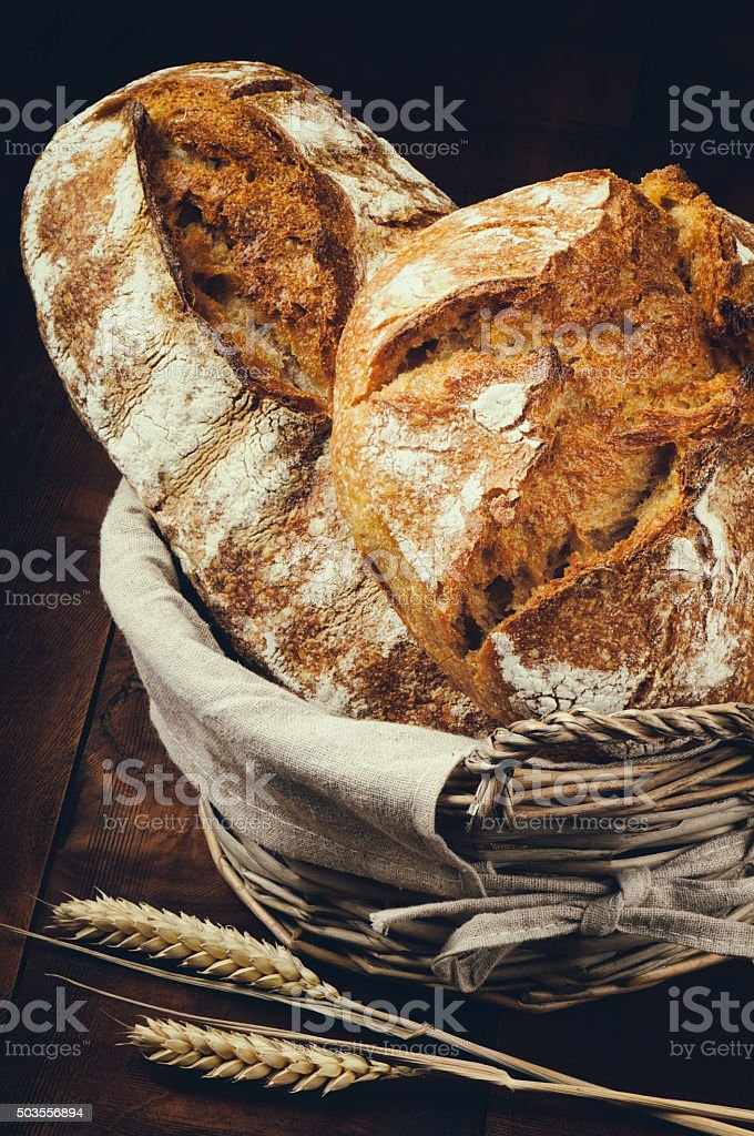 Traditional bread in basket stock photo