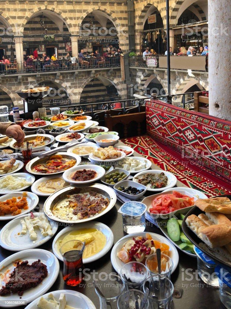 Traditional Breakfast of Diyarbakir, Turkey stock photo