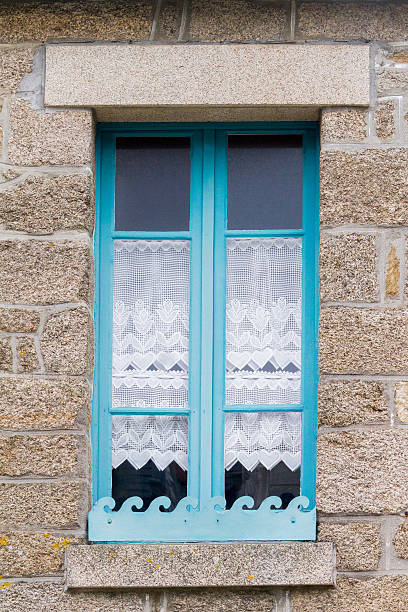traditional breton window , French stock photo