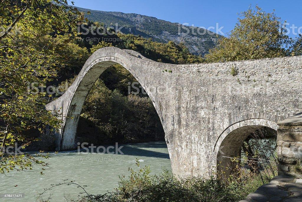 Traditional bridge in Greece stock photo