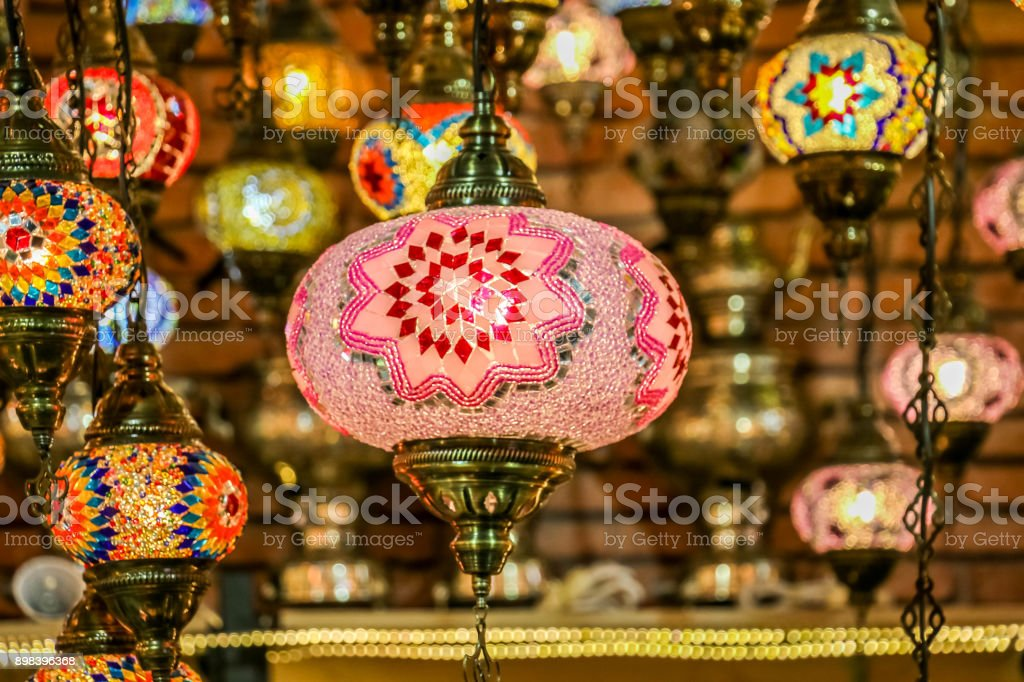 Traditional Bright Decorative Hanging Turkish Lamps And Colourful Lights  With Vivid Colours In Turkey Pavilion,