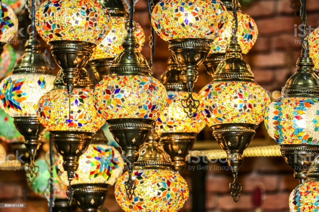 Traditional Bright Decorative Hanging Turkish Lights And Colourful Light Lamps With Vivid Colours In Turkey Pavilion