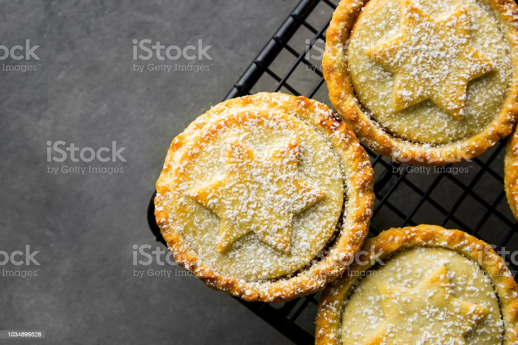 Traditional British Christmas Pastry Home Baked Mince Pies with Apple...