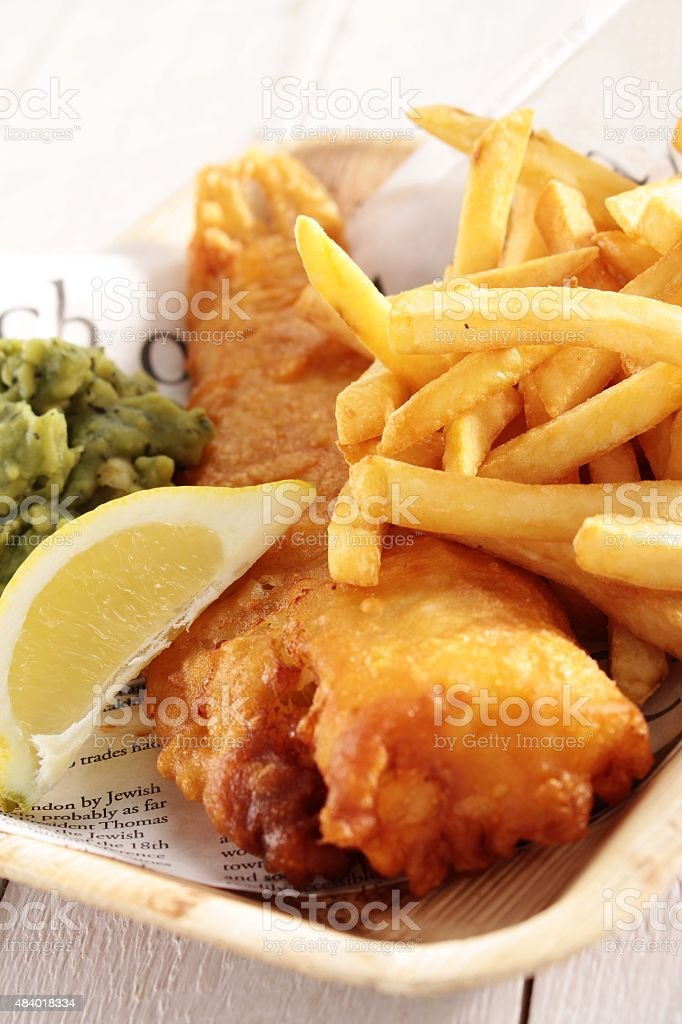 traditional British fish and chips stock photo