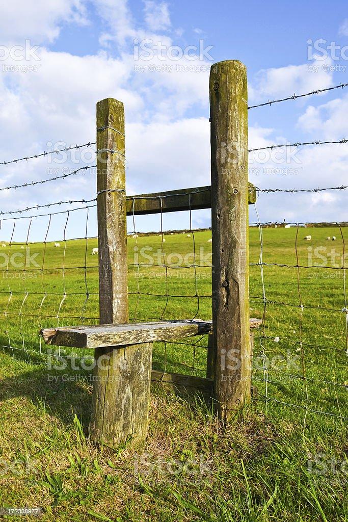 Traditional British footpath Stile stock photo