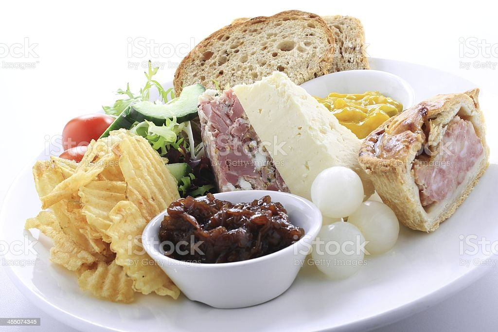 traditional British ploughmans lunch stock photo