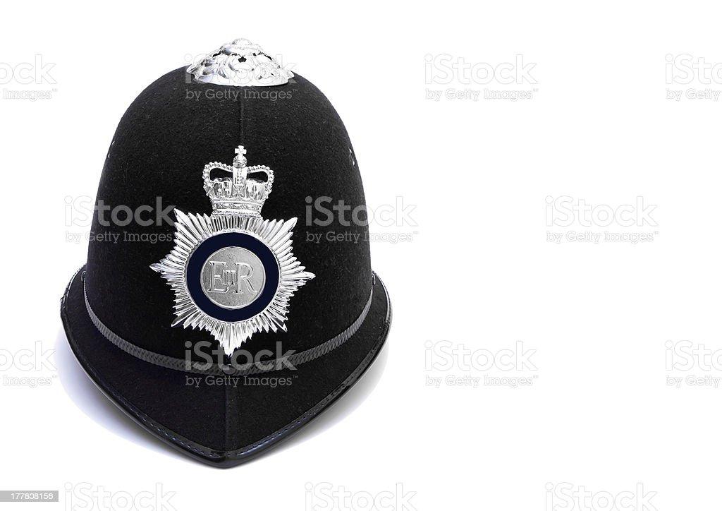 traditional british police custodian hemet on white stock photo