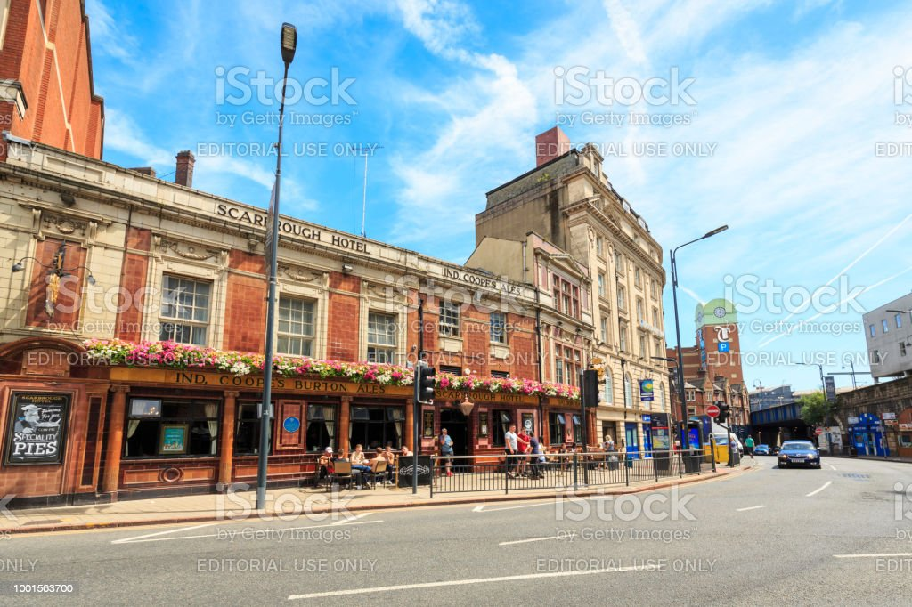 Traditional British pub in the centre of Leeds, West Yorkshire stock photo