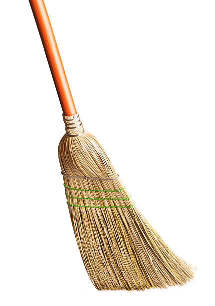 Traditional broom on a white background Isolated broom on white. broom stock pictures, royalty-free photos & images