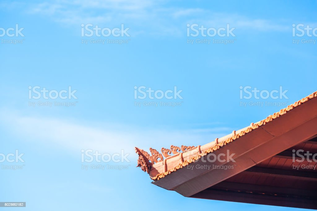 Traditional building eave  in Bali stock photo