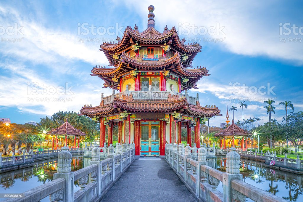 traditional building in a park in Taipei, taiwan stock photo