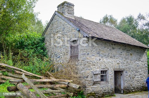 Omagh, County Tyrone, Northern Ireland, Sep., 2017. Traditional building inside Ulster American Folk Park in Northern Ireland.