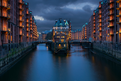 Traditional Buildings At The Speicherstadt Area In Hamburg