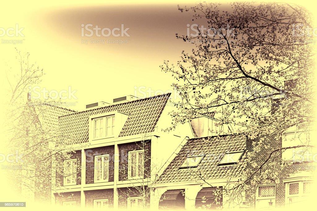 Traditionele gebouwen in de stad Amersfoort - Royalty-free Antiek - Toestand Stockfoto