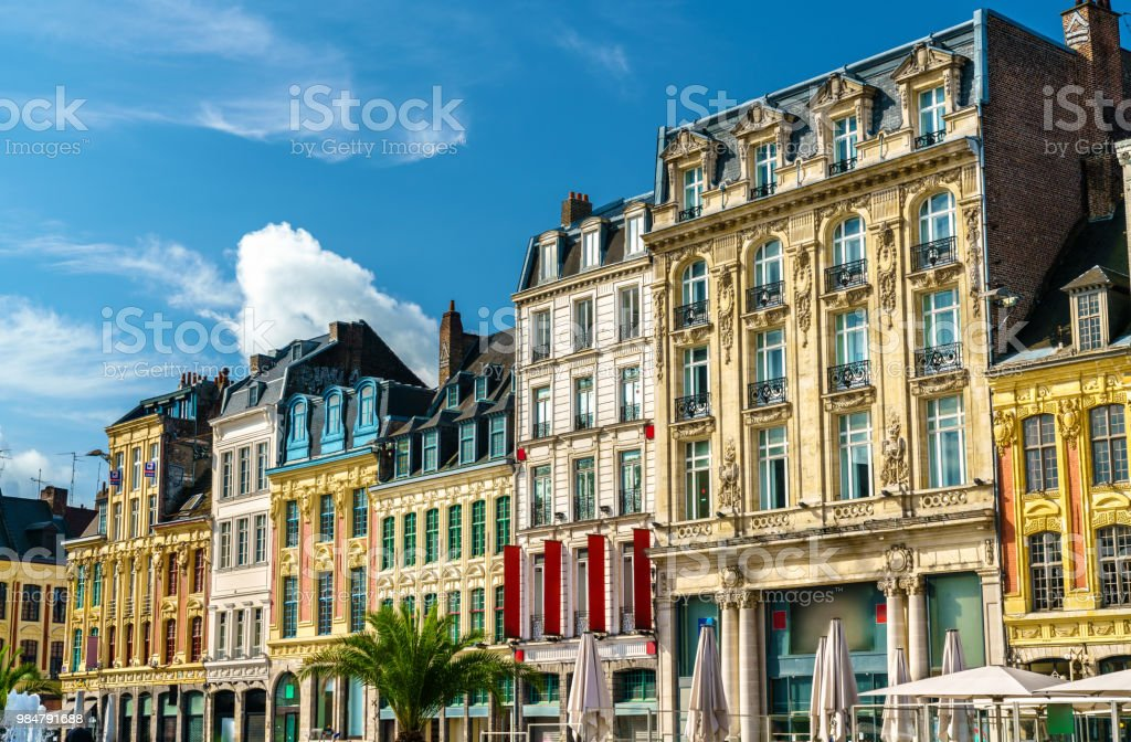 Traditional buildings in the old town on Lille, France - Royalty-free Ancient Stock Photo