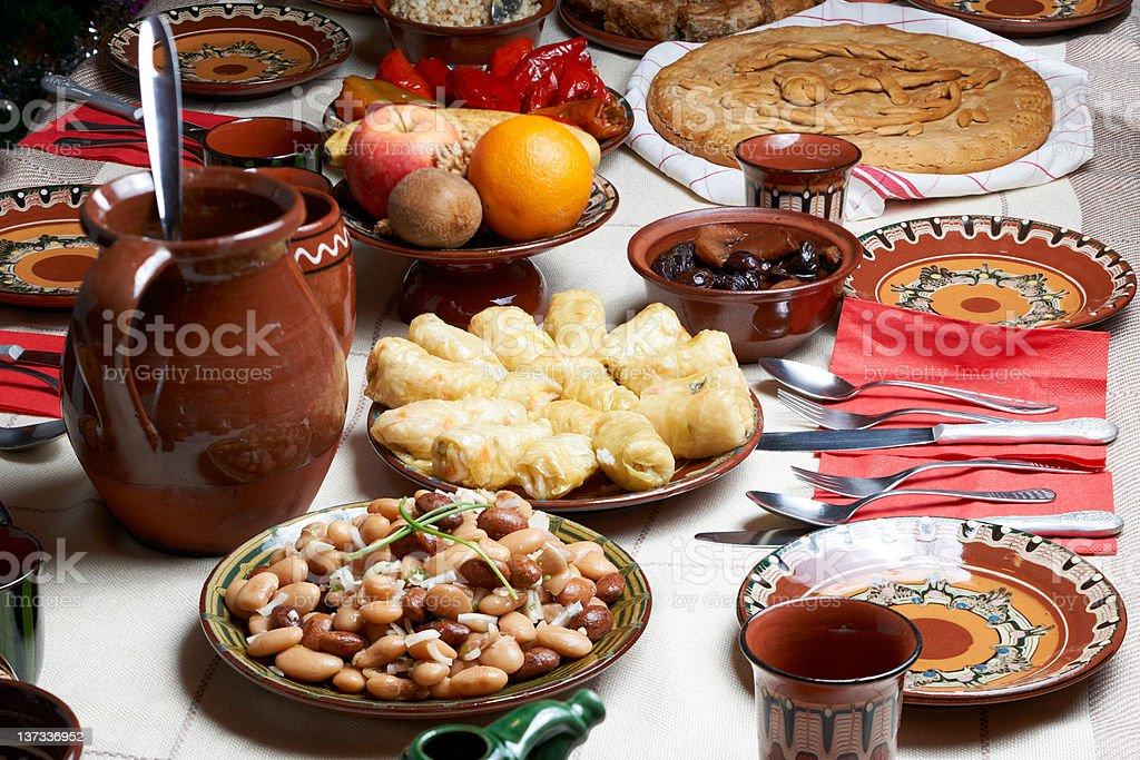 Traditional Bulgarian Christmas food stock photo