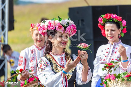 Hisarya, Bulgaria - June  22, 2019 - Artists performing a traditional bulgarian dances and handcrafts during the festival Hajdut Gencho in Hisarya city in Bulgaria