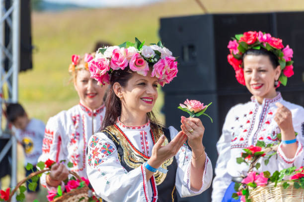 Traditional bulgarian folklore festival with dances and handcrafts demonstration stock photo