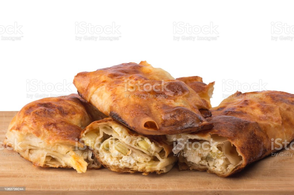 Traditional Bulgarian homemade banitsa. stock photo