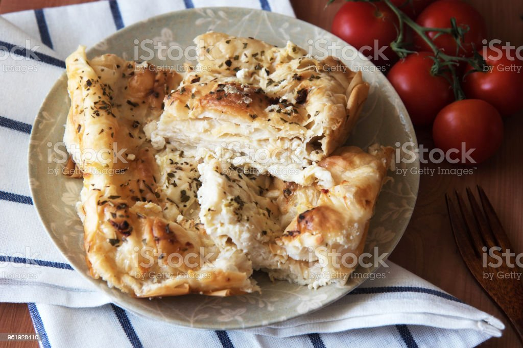 Traditional Bulgarian homemade Banitsa. Pie with feta cheese stock photo