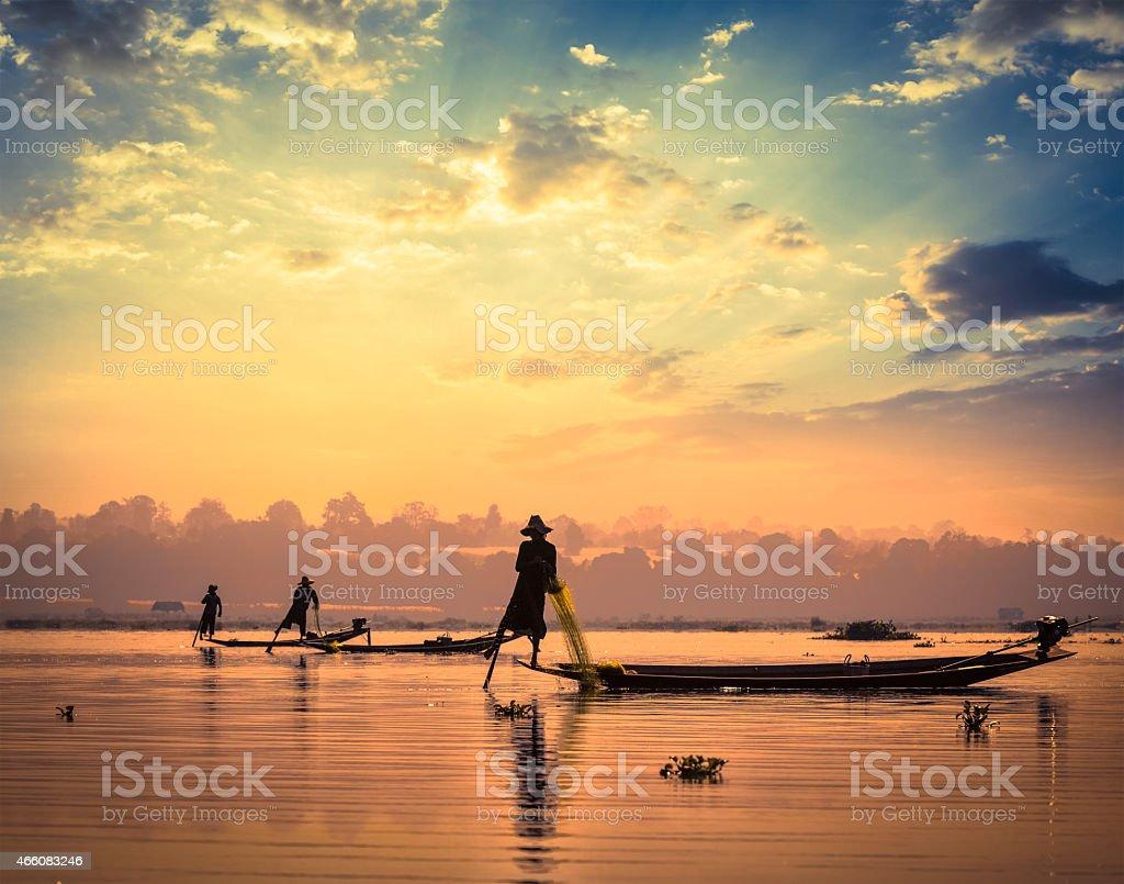 Traditional Burmese fishermen at Inle lake Myanmar stock photo