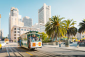 SEPTEMBER 4, 2016 - SAN FRANCISCO: Traditional Powell-Hyde cable cars at Union Square in central San Francisco in beautiful golden morning light, California, USA
