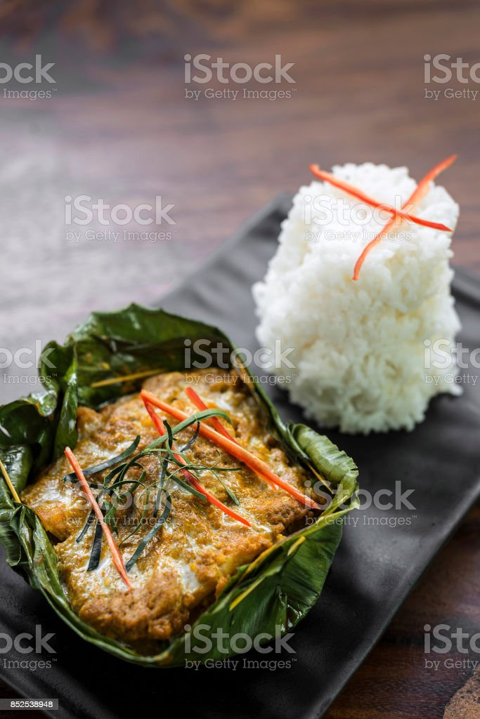 traditional Cambodian khmer fish amok curry meal stock photo