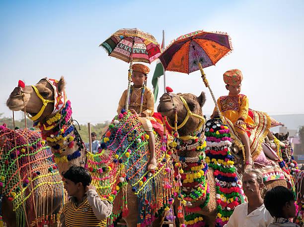 Traditional camel decoration competition camel mela in Pushkar stock photo