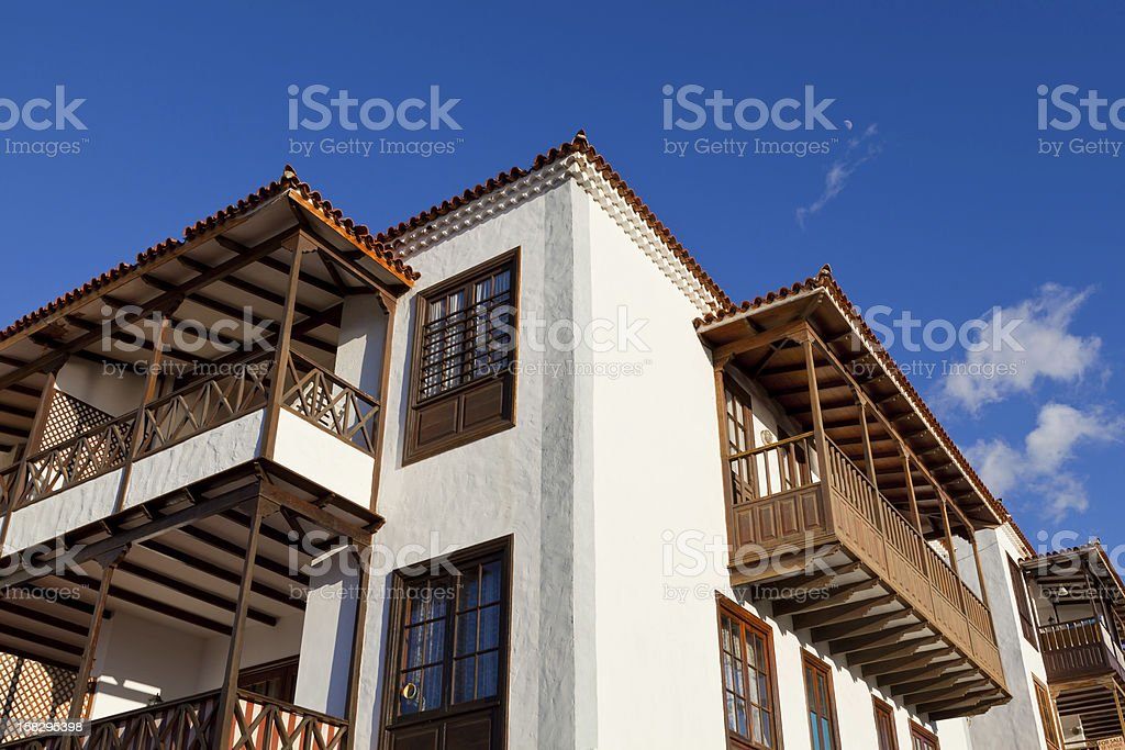 Traditional Canarian Architecture with Wooden Balconies royalty-free stock photo