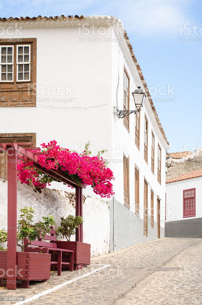 Traditional canarian house in Agulo, La Gomera. stock photo