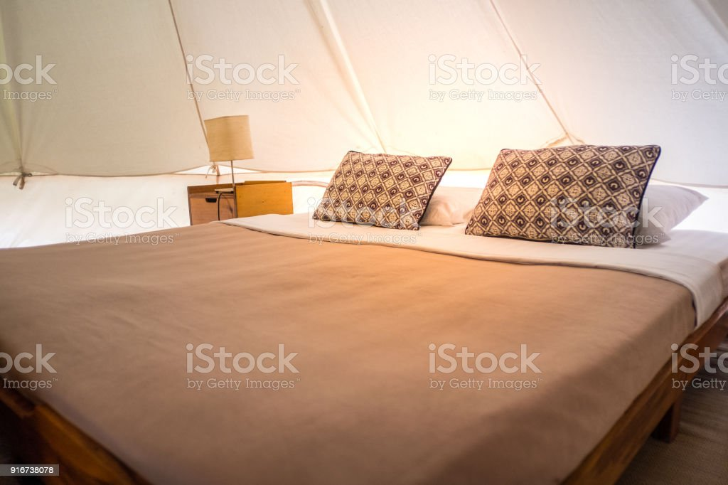 Traditional canvas bell tent,  in Thailand. stock photo