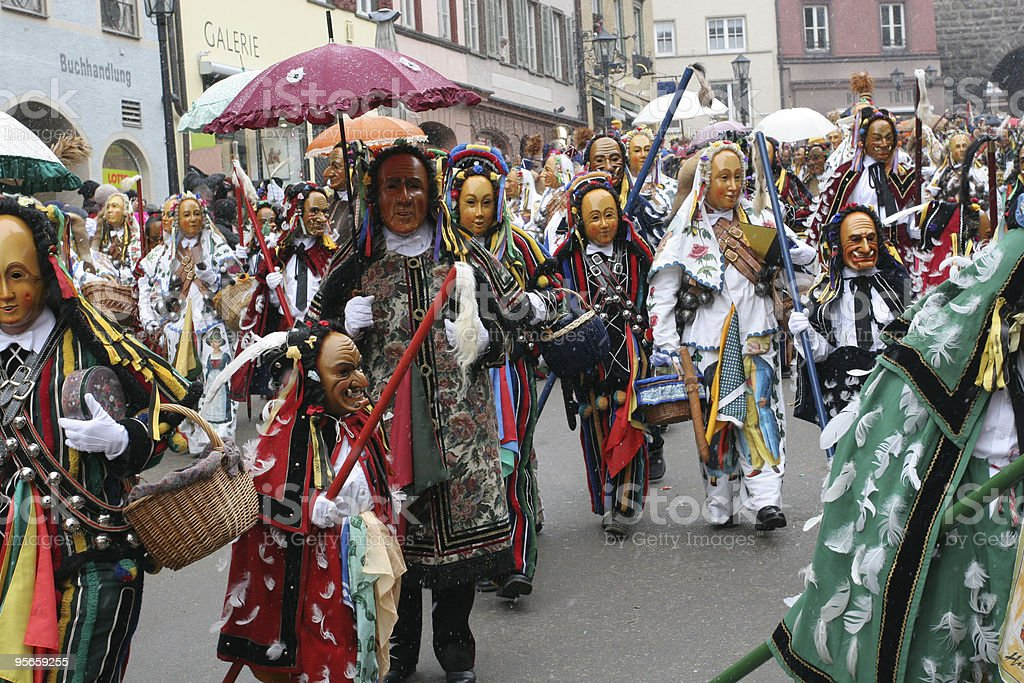 Traditional carnival parade in Rottweil, Germany stock photo