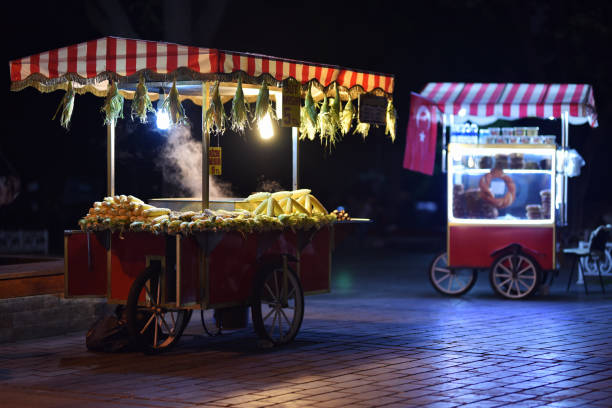 Traditional carts of Turkish street food in night stock photo