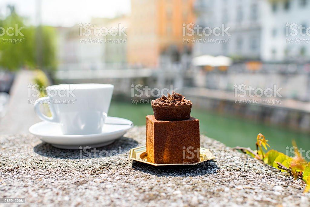 Traditional castle cake outdoors in Ljubljana city center stock photo
